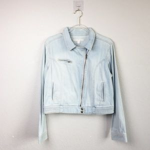 • LAUREN CONRAD • Cropped Denim Jacket Sz L